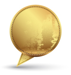 Gold speech circle with texture embroidery vector image