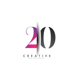 20 2 0 number logo with creative shadow cut design vector image