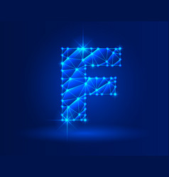abstract glowing letter f on dark blue background vector image