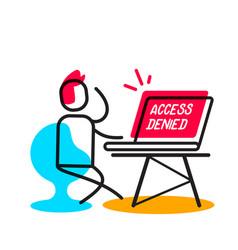Access denied linear concept business man vector