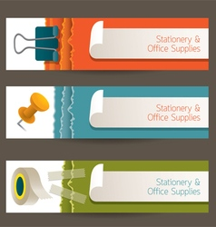 Adhesive Tape Paperclip Pin Office Banner vector image