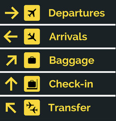 airport sign departure arrival travel icon vector image