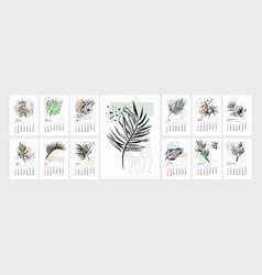 Art tropical flower calendar 2022 year vector