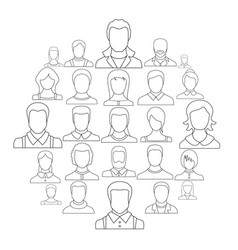 avatar user icon set outline style vector image
