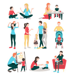 Babysitter family people set vector