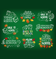 back to school chalk sketch badge on blackboard vector image