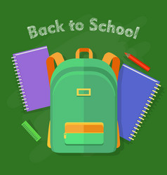 back to school green backpack with one pocket vector image