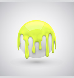 Ball with paint drops yellow vector