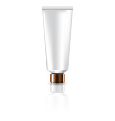 Blank white cosmetic tube with copper lid for vector