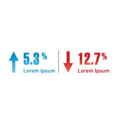 blue and red percent arrow up and down percentage vector image