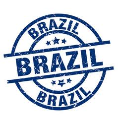 brazil blue round grunge stamp vector image