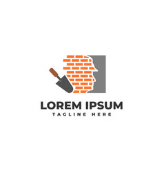 Brick wall installation and cement stucco logo vector