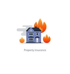 Burning building fire insurance safety concept vector