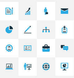 Business colorful icons set collection of badge vector