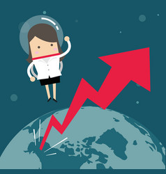 businesswoman flying in a space with growth graph vector image