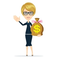 Businesswoman with money bag vector