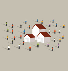 Buy home housing affordable mortgage people crowd vector