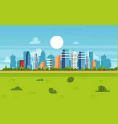 cartoon city landscape on summer day - modern flat vector image