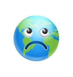 Cartoon earth face sad emotion icon funny planet vector