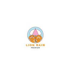 Cartoon lion with umbrella logo icon vector