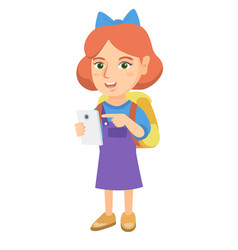 caucasian girl with backpack pointing at cellphone vector image