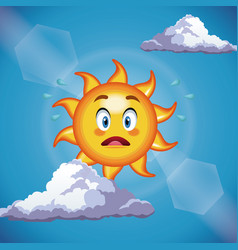 character sun surprise cute face - cartoon in the vector image
