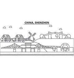 china shenzhen architecture line skyline vector image