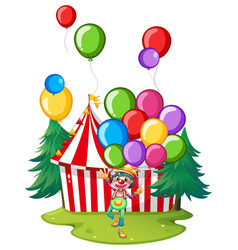 circus clown with colorful balloons vector image