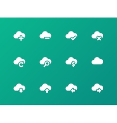 Cloud icons on green background vector image
