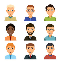 collection avatars various young men vector image