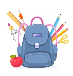 Colorful big blue backpack with red apple vector