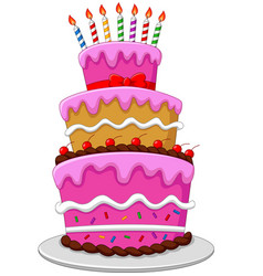 colorful birthday cake with candles isolated vector image