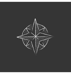 Compass wind rose Drawn in chalk icon vector