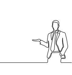 continuous line drawing businessman tells vector image