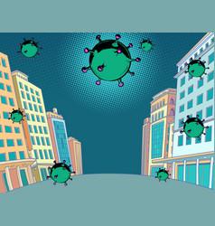 Coronavirus epidemic attacks city vector