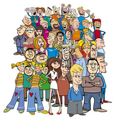 crowd of cartoon people characters vector image