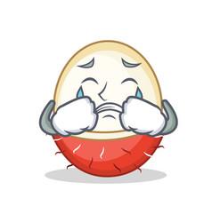 Crying rambutan mascot cartoon style vector