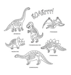 cute cartoon dinosaur skeletons silhouettes in vector image