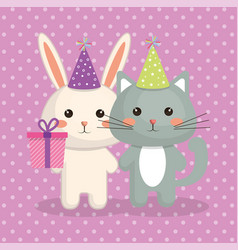 cute cat and rabbit sweet kawaii character vector image