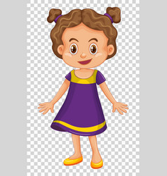 Cute girl wearing purple costume vector
