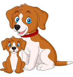 Cute mother dog with her puppy vector