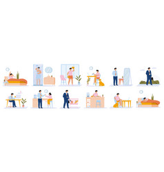 Daily man routine young guy everyday leisure vector