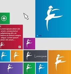Dance girl ballet ballerina icon sign buttons vector