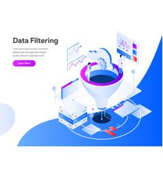 Data filtering isometric concept modern flat vector