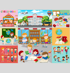 different scenes with children at school vector image