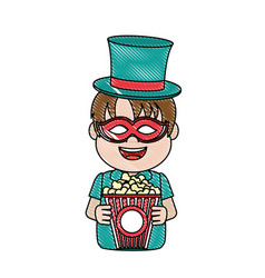 Doodle nice carnival boy with hat and mask vector