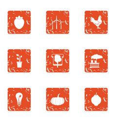 Eco enjoyable icons set grunge style vector