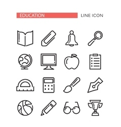Education Icons Set with red ribbon for tex vector