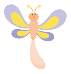 Emoji a smiling dragonfly or color vector