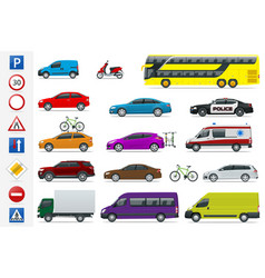flat high-quality city transport cars and road vector image